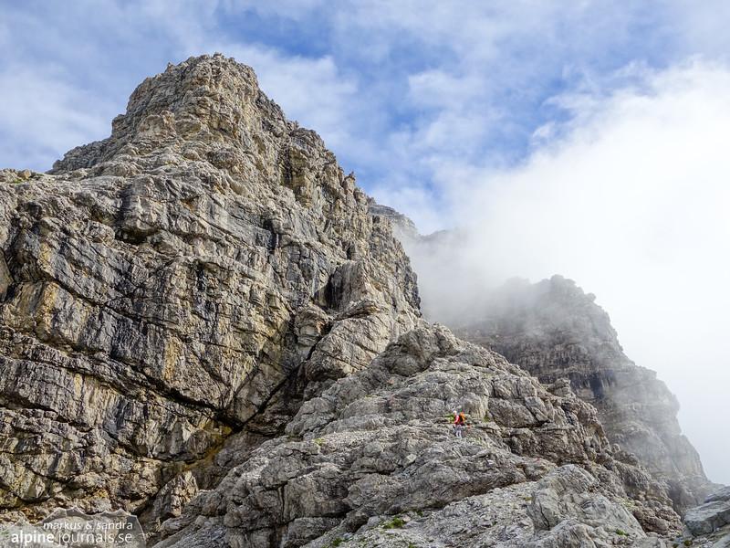 The clouds drift across Hochvogel summit.