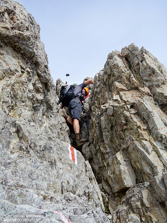 Short, non-exposed bits of climbing is part of what makes this route call for alpine experience.