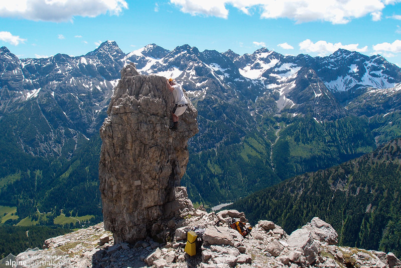 Great piece of bouldering on Hochvogel