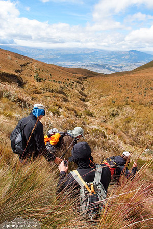Through paramo grasslans towards Pichincha Guagua.