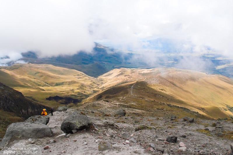 Approaching the hut beneath the two summits of Illiniza.