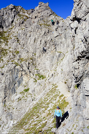 One somewhat exposed section of downclimbing (I-II, a little loose).