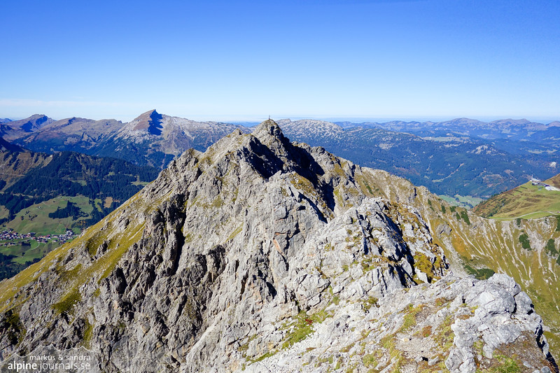 We take a break at the Hochgehrenspitze summit, here looking back along the ridge to Walser Hammerspitze.