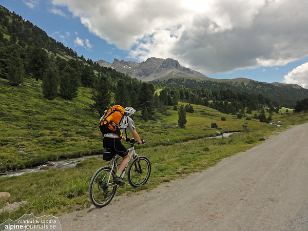 Heading for Pass da Costainas above Scuol in Engadin