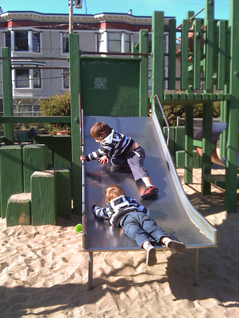 Fun on the baby slide