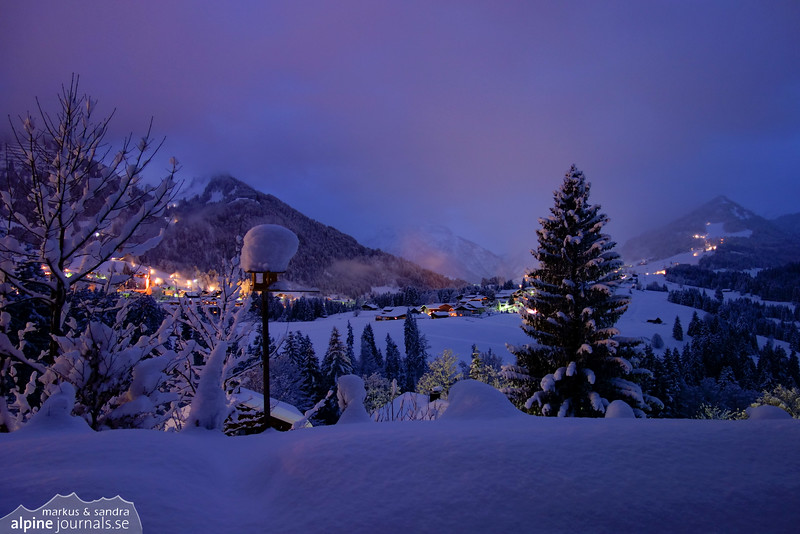 The day dawns with deep, fresh powder snow everywhere...