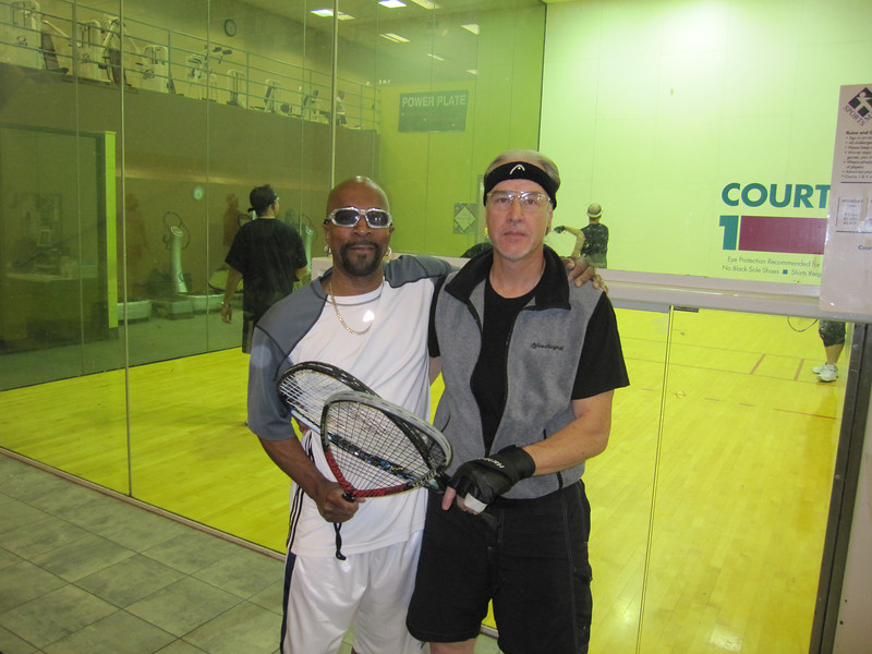 My doubles partner Robert (age 68) on my right.  He's in great shape and we enjoyed defending ourselves in a variety of matches.  Doubles requires careful ball placement and good teamwork skills.