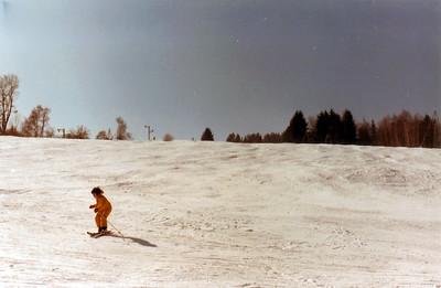 Silke zum ersten Mal auf Skiern