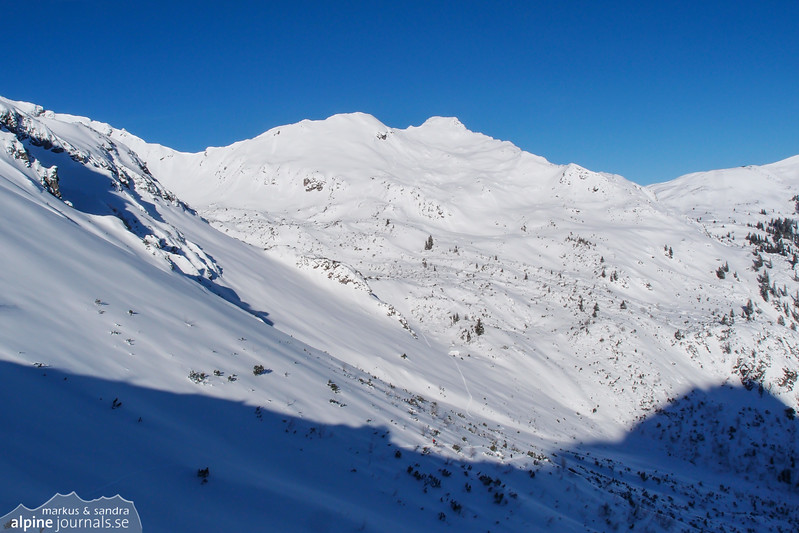 Looking back. Kanzelwand is the righthand peak. One can see our tracks coming down.