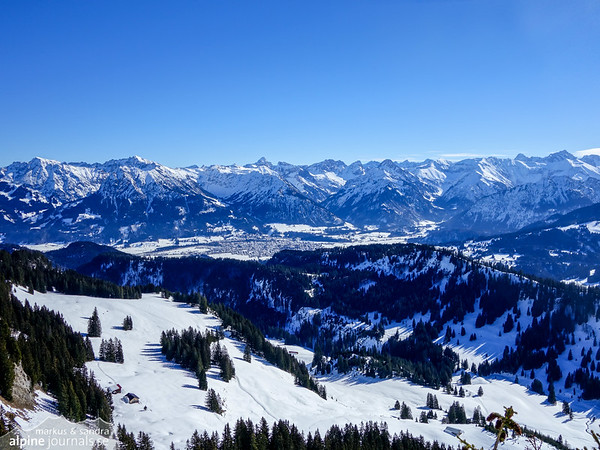 We have reached the summit! A view to Oberstdorf, which is a busy place today due to Fasching.
