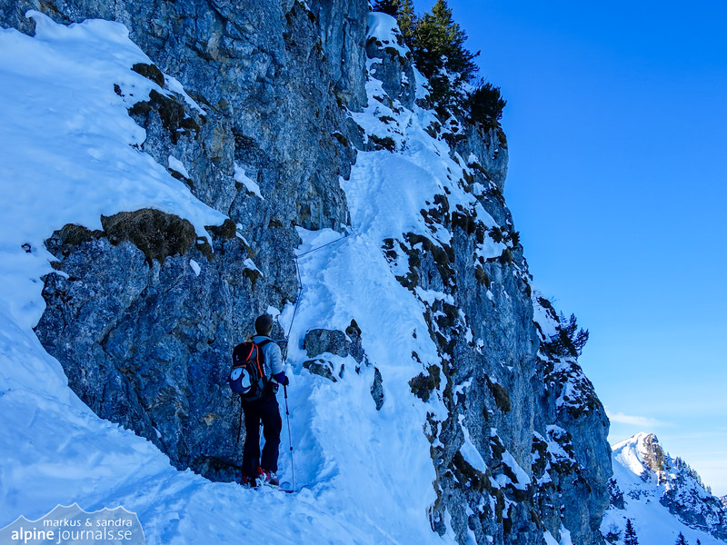 On the north face of the Besler rock face there is a via ferrata leading to the summit. It's partly oversnowed now, but the snow will provide good steps.