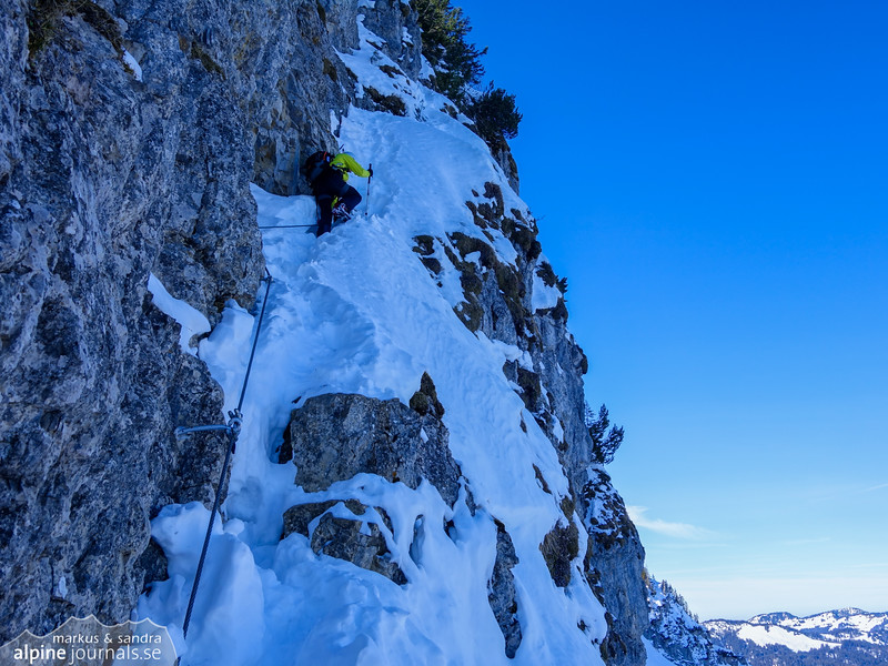 The Besler north face ferrata. We make use of a ferrata climbing set where possible.