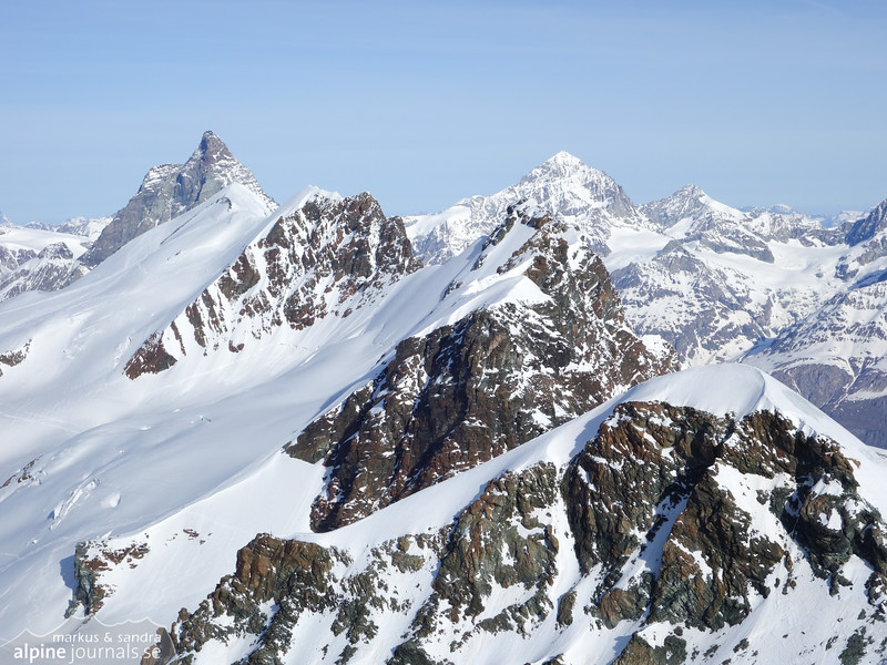 Breithorn summits from Castor. From right to left: Pollux, Breithorn Zwillinge, Breithorn central, Berithorn occidental and right behind Breithorn is Matterhorn.
