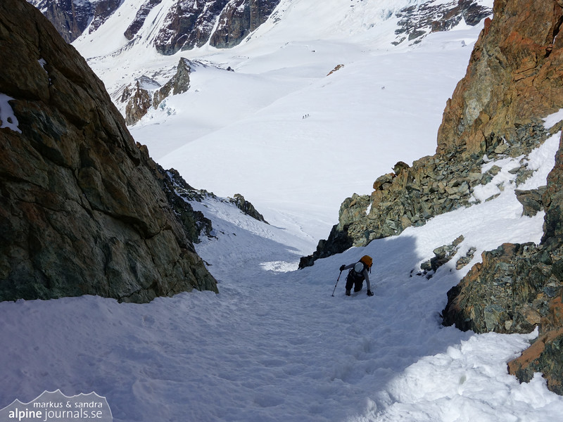 Snow couloir on the lower part of Pollux