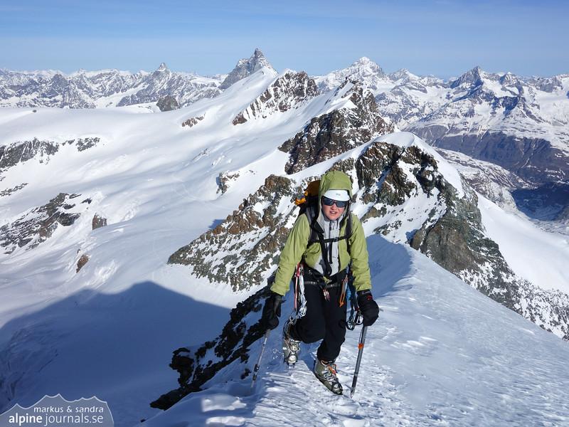 Castor, with the Breithorn ridge behind.