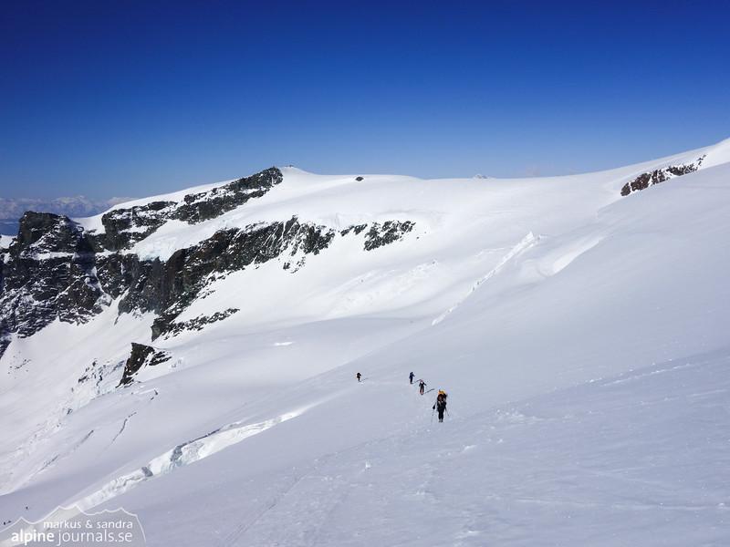 Ascending from the Mezzalama hut, now at the upper part of Glacier Grande Ghiacciaio de Verra.