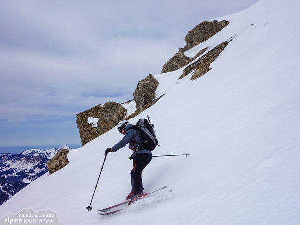 Markus descending the south-west slope of Hohe Ifen.