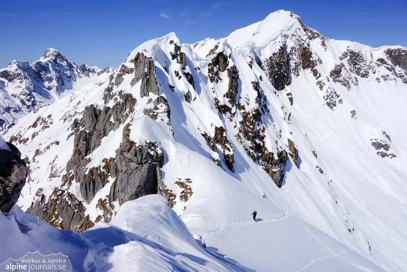 Sandra exiting the colouir near the summit of Weisser Schrofen.
