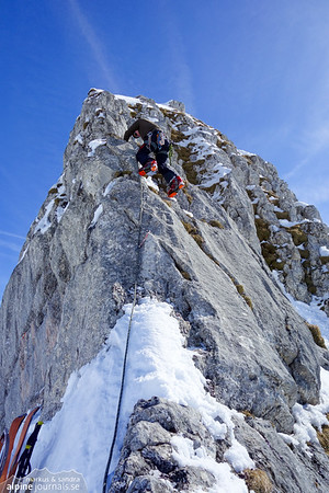 Our first climbing this year, with crampons and cold rock leading up to the Weisser Schrofen summit.