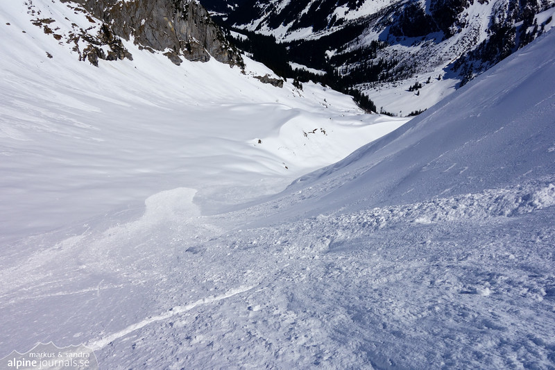 The avalanche made its way down 200 meters before flattening out.