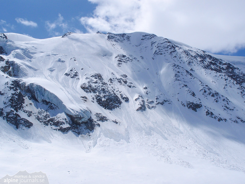 The north face was avalanche covered on the return.