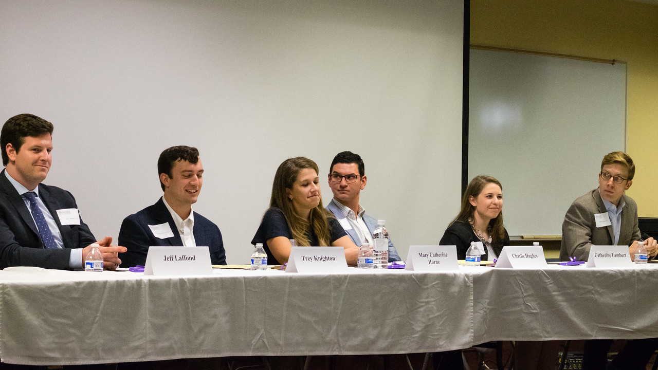 Above (L to R): Jeff Laffond, C'10—Senior Investment Analyst, Manchester Capital Management, New York City; Trey Knighton, C'13—Investment Analyst, Partners HealthCare, Boston; Mary Catherine Horne, C'13—Campus Recruiter, Bank of America Merrill Lynch, Charlotte; Charlie Hughes, C'14—Senior Consultant, EY, Charlotte; Catherine Lambert, C'12—Management Consultant - Finance & Risk, Accenture, Atlanta; and Franklin Pogue, C'11—Associate, Silvermark Partners LLC, Nashville.