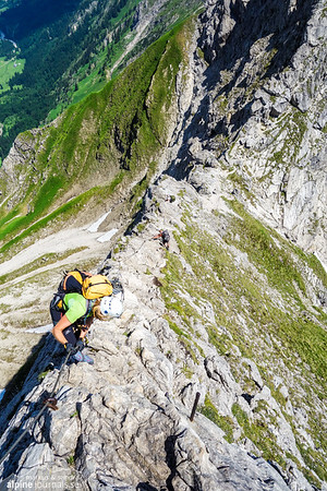 One of the last descents on the Hindelanger Klettersteig before the saddle to Grosser Daumen... or so we think.