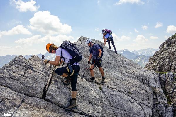 Limestone climbing on Hindelanger Klettersteig.