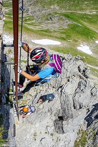 Descending another ladder at the last section of Hindelanger Klettersteig.