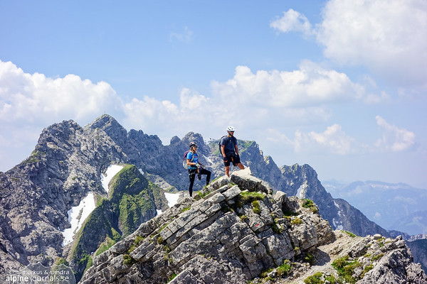 On the last third of Hindelanger Klettersteig, with much of the route behind.