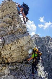 A somewhat tricky down-climb on the Hindelanger Klettersteig.