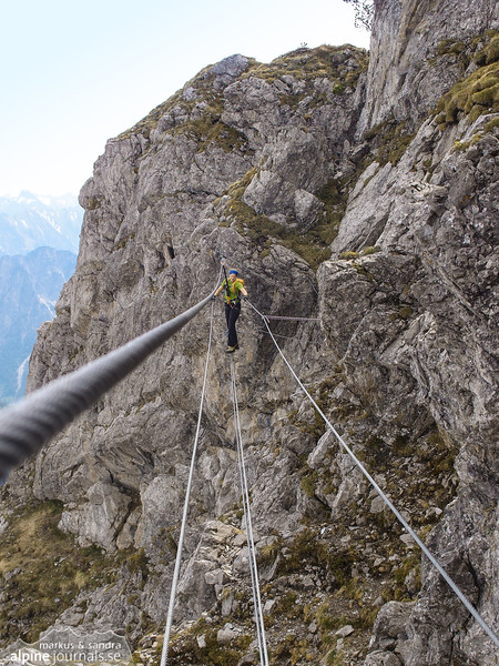 A rope bridge on the mini ferrata from the summit and down.