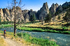 Mountain biker on trail at Smith Rock State Park, Oregon - 4 - 72 ppi