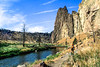 Mountain biker on trail at Smith Rock State Park, Oregon - 7 - 72 ppi