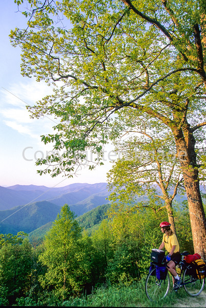 Touring cyclist in Great Smoky Mountains National Park, nearing Newfound Gap - 5 - 72 ppi