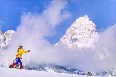 Cross-country skier before Teton Mountain Range near Jackson, Wyoming - 8 - 72 ppi