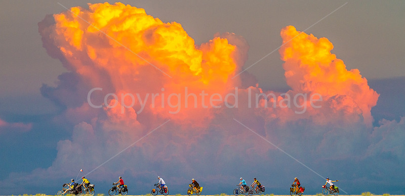 Southern Tier riders in Texas, with cumulus - 72 ppi - smaller file