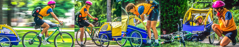 Cyclist with child in Salt Lake City's Liberty Park, Utah - composite - final