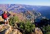 Hiker near Desert View Watchtower, Grand Canyon, Arizona - 10 - 72 dpi