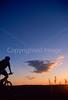 Cyclist at Badlands National Park, South Dakota