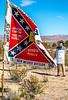 New Mexico - Protester at ceremony unveiling monument to Texas Confederates in Socorro cemetery - 2-24-12-C3-0036 - 72 ppi