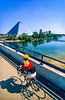 Cyclist on bridge from Mud Island to downtown Memphis-1 - 72 ppi