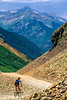 Biker at or near Ophir Pass on Colorado's Alpine Loop, between Silverton & Telluride - 27 - 72 ppi