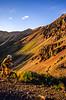 Biker at Ophir Pass on Colorado's Alpine Loop, between Silverton & Telluride - 5 - 72 ppi