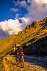 Biker at Ophir Pass on Colorado's Alpine Loop, between Silverton & Telluride - 7 - 72 ppi