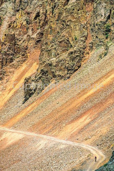 Biker at or near Ophir Pass on Colorado's Alpine Loop, between Silverton & Telluride - 11-Edit - 72 ppi