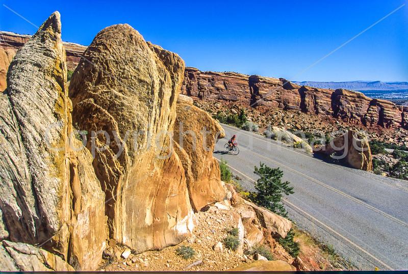 Thin-tire cyclist in Colorado Nat'l Monument, CO - 28 - 72 ppi