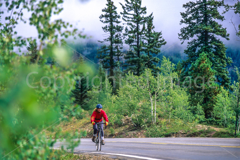 Thin-tire cyclist on US 550 between Silverton & Durango, CO - 15 - 72 ppi
