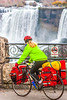 Touring cyclist viewing American side of Niagara Falls, NY-0616 - 72 ppi-2