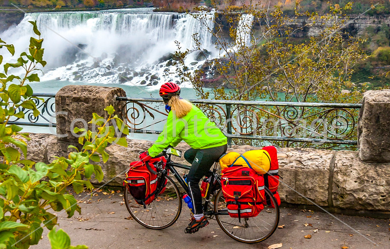 Touring cyclist viewing American side of Niagara Falls, NY-0233 - 72 ppi